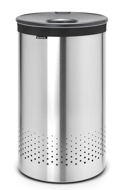 Бак для белья с пластиковой крышкой 60 л (Сталь (матовая)), фото