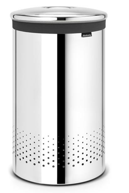 Бак для белья с металлической крышкой 60 л (Сталь (зеркальная)), фото