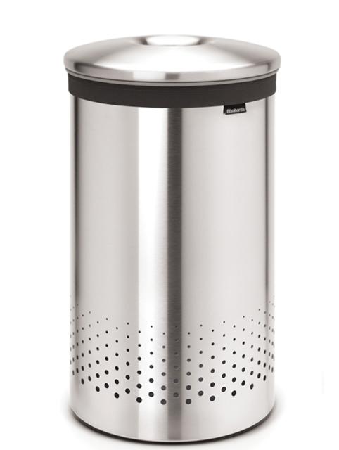 Бак для белья с металлической крышкой 60 л (Сталь (матовая)), фото