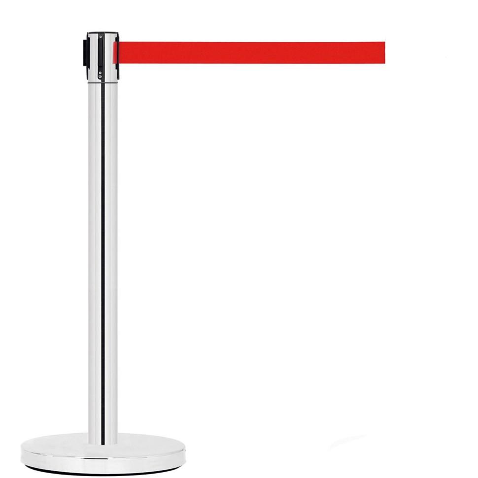 Фото - Стойка ограждения с вытяжной лентой (Уценка) (Красный)