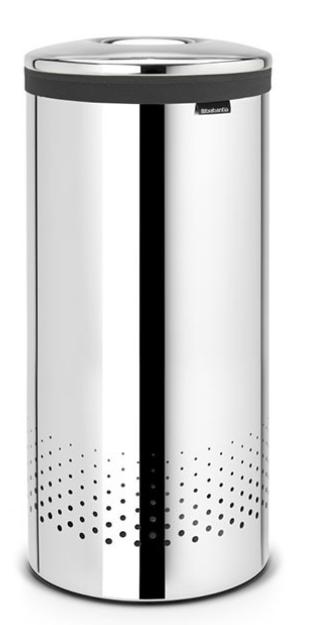 Бак для белья с металлической крышкой 35 л (Сталь (зеркальная)), фото