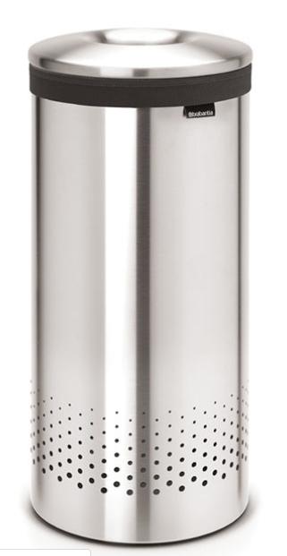 Бак для белья с металлической крышкой 35 л (Сталь (матовая)), фото