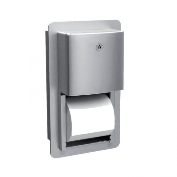 Держатель для двух бытовых рулонов туалетной бумаги встраиваемый в стену., фото