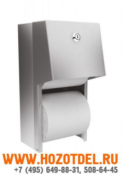 Держатель туалетной бумаги для двух бытовых рулонов металлический матовый., фото
